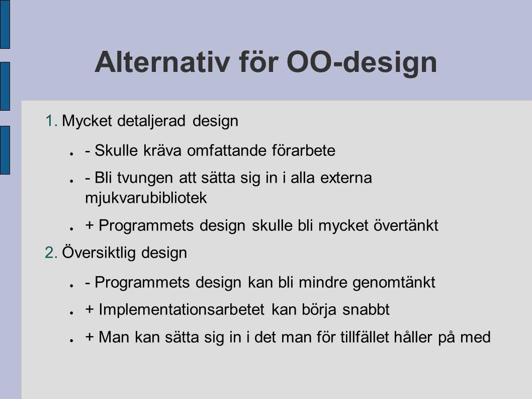 Alternativ för OO-design 1.Mycket detaljerad design ● - Skulle kräva omfattande förarbete ● - Bli tvungen att sätta sig in i alla externa mjukvarubibl