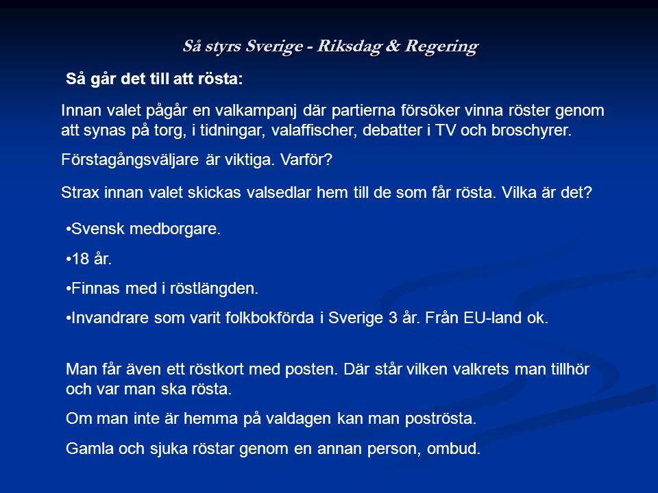 Så styrs Sverige - Riksdag & Regering Så går det till att rösta: Innan valet pågår en valkampanj där partierna försöker vinna röster genom att synas på torg, i tidningar, valaffischer, debatter i TV och broschyrer.
