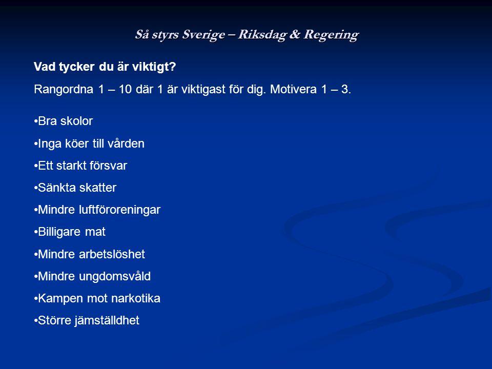 Så styrs Sverige – Riksdag & Regering Vad tycker du är viktigt.