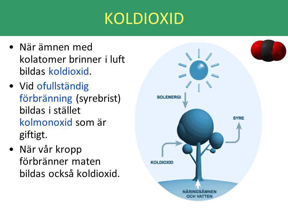 KOLDIOXID När ämnen med kolatomer brinner i luft bildas koldioxid.