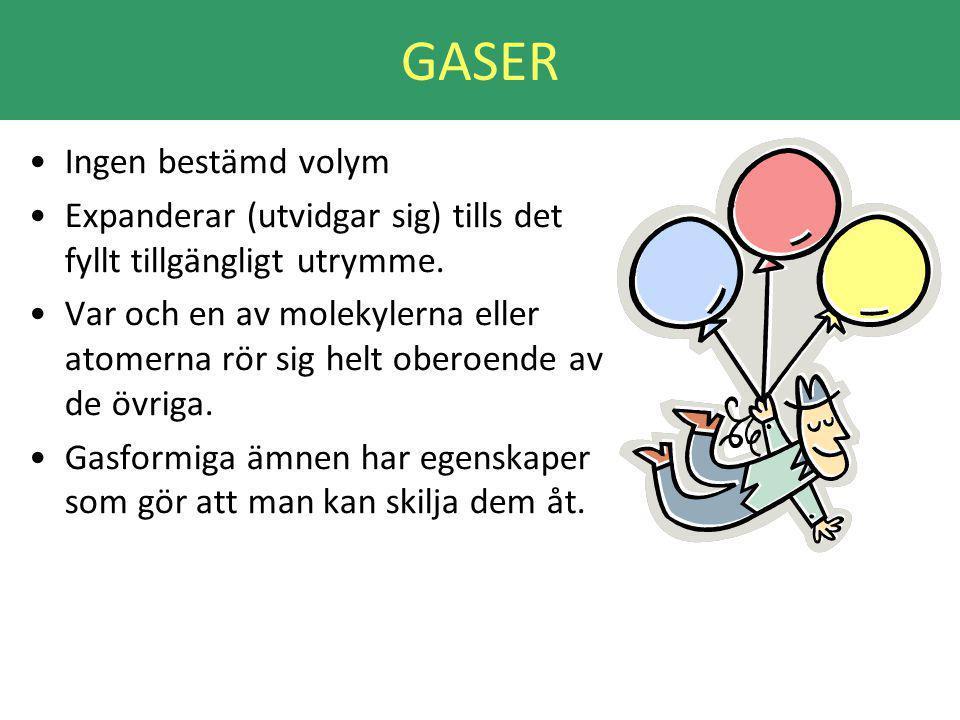 GASER Ingen bestämd volym Expanderar (utvidgar sig) tills det fyllt tillgängligt utrymme.