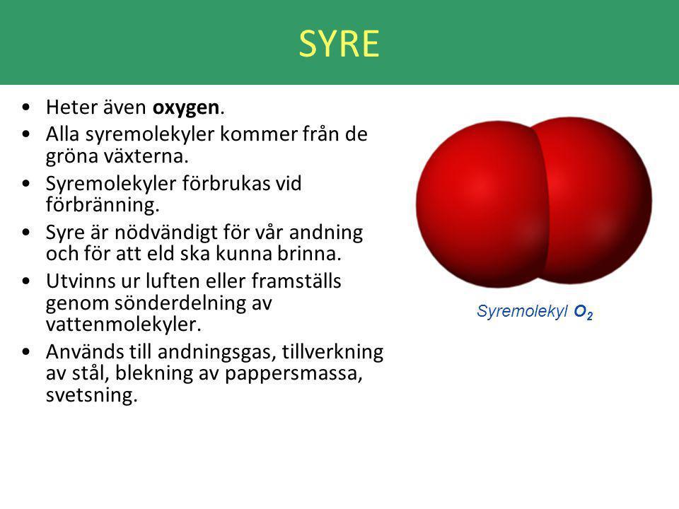 SYRE Heter även oxygen.Alla syremolekyler kommer från de gröna växterna.