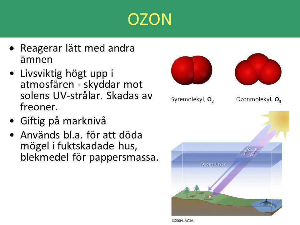 OZON  Reagerar lätt med andra ämnen Livsviktig högt upp i atmosfären - skyddar mot solens UV-strålar.