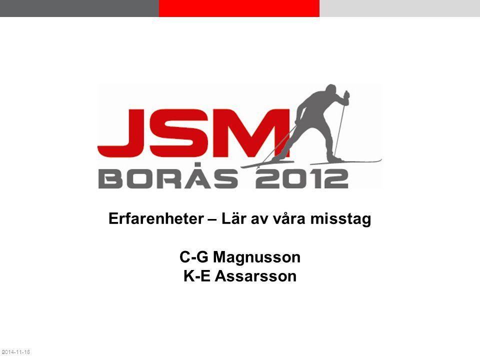 JSM Borås 2012 © Acando AB Erfarenheter – Lär av våra misstag C-G Magnusson K-E Assarsson 2014-11-180