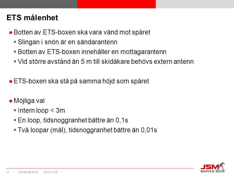 JSM Borås 2012 ETS målenhet ●Botten av ETS-boxen ska vara vänd mot spåret  Slingan i snön är en sändarantenn  Botten av ETS-boxen innehåller en mott