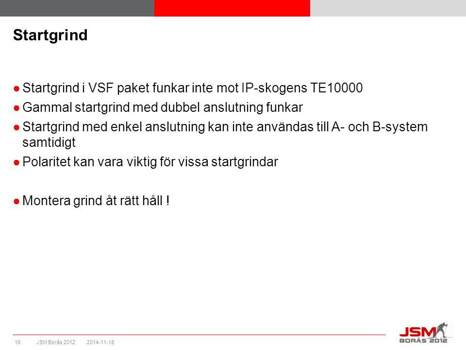JSM Borås 2012 Startgrind ●Startgrind i VSF paket funkar inte mot IP-skogens TE10000 ●Gammal startgrind med dubbel anslutning funkar ●Startgrind med e