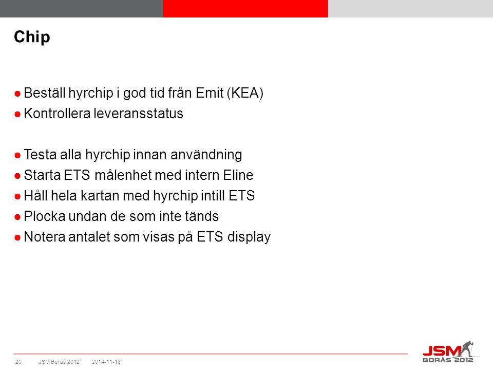 JSM Borås 2012 ●Beställ hyrchip i god tid från Emit (KEA) ●Kontrollera leveransstatus ●Testa alla hyrchip innan användning ●Starta ETS målenhet med intern Eline ●Håll hela kartan med hyrchip intill ETS ●Plocka undan de som inte tänds ●Notera antalet som visas på ETS display Chip 2014-11-1820