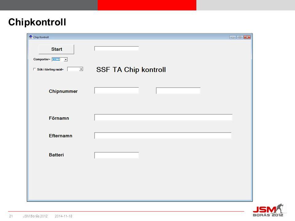 JSM Borås 2012 Chipkontroll 2014-11-1821