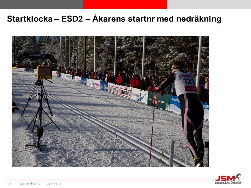 JSM Borås 2012 Startklocka – ESD2 – Åkarens startnr med nedräkning 2014-11-1822