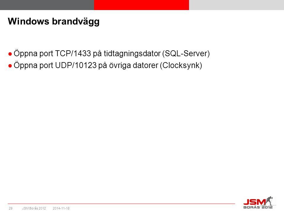 JSM Borås 2012 Windows brandvägg ●Öppna port TCP/1433 på tidtagningsdator (SQL-Server) ●Öppna port UDP/10123 på övriga datorer (Clocksynk) 2014-11-182