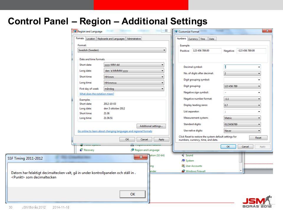 JSM Borås 2012 Control Panel – Region – Additional Settings 2014-11-1830