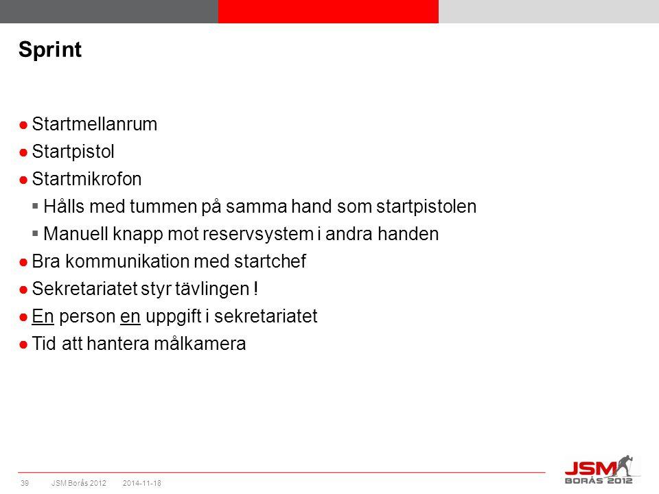 JSM Borås 2012 Sprint ●Startmellanrum ●Startpistol ●Startmikrofon  Hålls med tummen på samma hand som startpistolen  Manuell knapp mot reservsystem