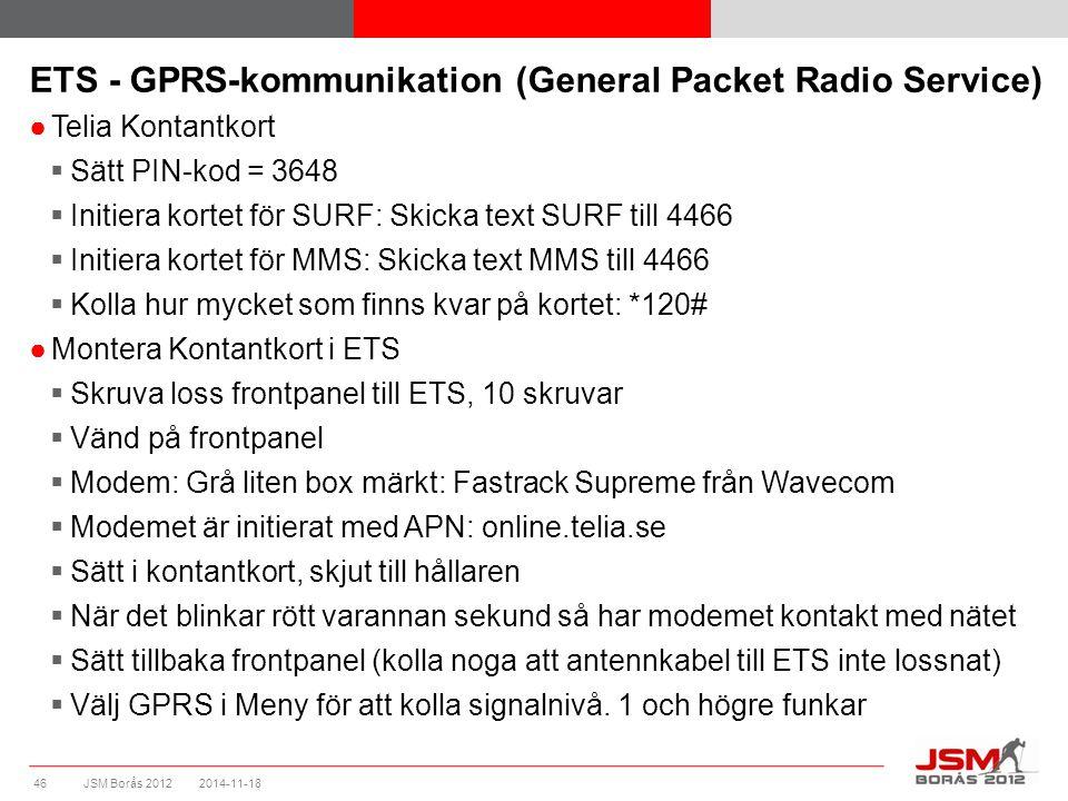JSM Borås 2012 ETS - GPRS-kommunikation (General Packet Radio Service) ●Telia Kontantkort  Sätt PIN-kod = 3648  Initiera kortet för SURF: Skicka tex