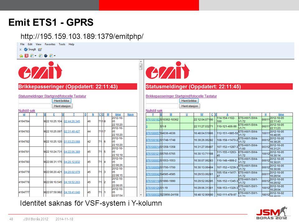 JSM Borås 2012 Emit ETS1 - GPRS 2014-11-1848 Identitet saknas för VSF-system i Y-kolumn http://195.159.103.189:1379/emitphp/