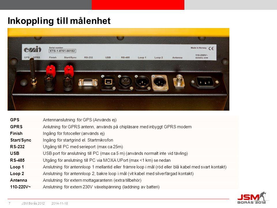JSM Borås 2012 Inkoppling till målenhet 2014-11-187 GPSAntennanslutning för GPS (Används ej) GPRSAnlutning för GPRS antenn, används på chipläsare med inbyggt GPRS modem FinishIngång för fotoceller (används ej) Start/SyncIngång för startgrind el.