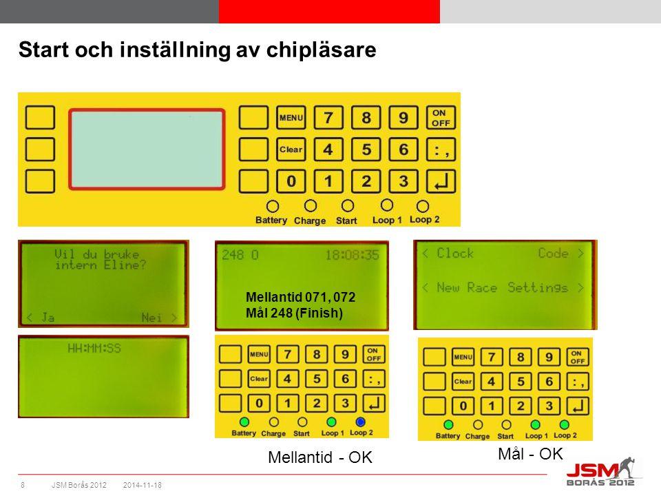 JSM Borås 2012 Start och inställning av chipläsare 2014-11-188 Mellantid 071, 072 Mål 248 (Finish) Mellantid - OK Mål - OK
