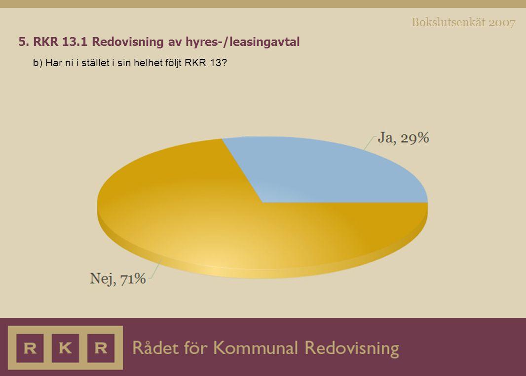 Bokslutsenkät 2007 5. RKR 13.1 Redovisning av hyres-/leasingavtal b) Har ni i stället i sin helhet följt RKR 13?