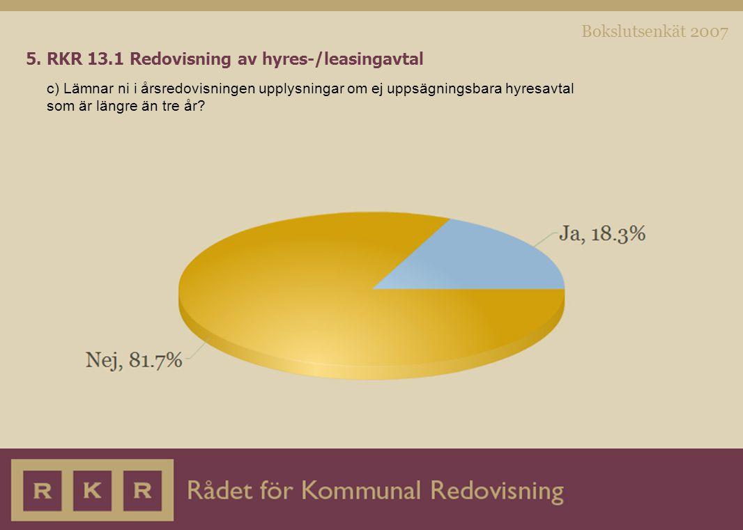 Bokslutsenkät 2007 5. RKR 13.1 Redovisning av hyres-/leasingavtal c) Lämnar ni i årsredovisningen upplysningar om ej uppsägningsbara hyresavtal som är