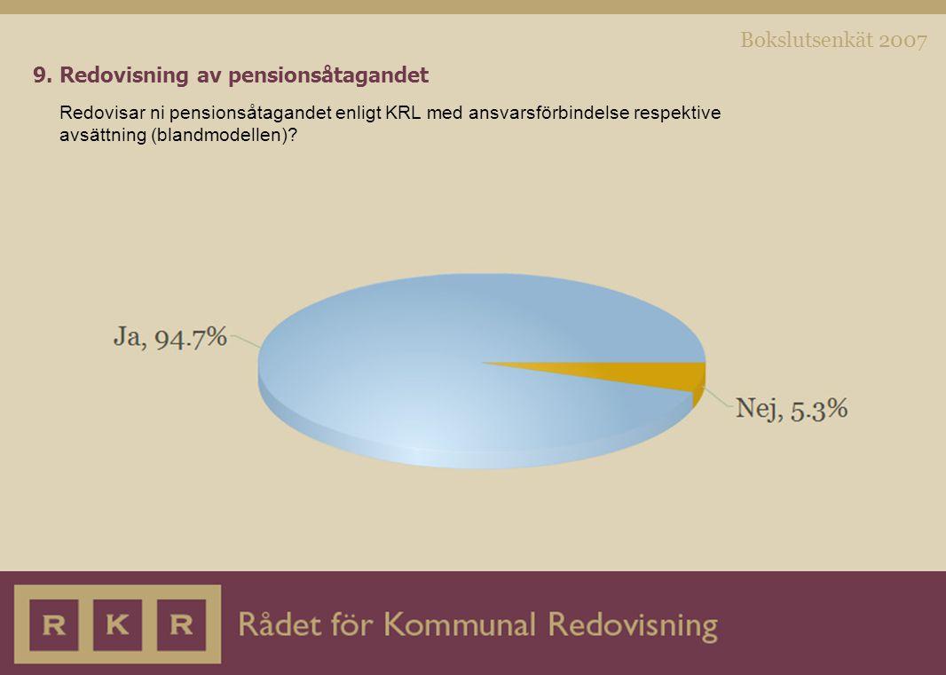 Bokslutsenkät 2007 9. Redovisning av pensionsåtagandet Redovisar ni pensionsåtagandet enligt KRL med ansvarsförbindelse respektive avsättning (blandmo