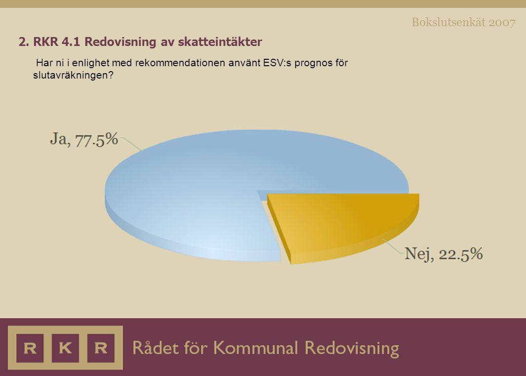 Bokslutsenkät 2007 2. RKR 4.1 Redovisning av skatteintäkter Har ni i enlighet med rekommendationen använt ESV:s prognos för slutavräkningen?