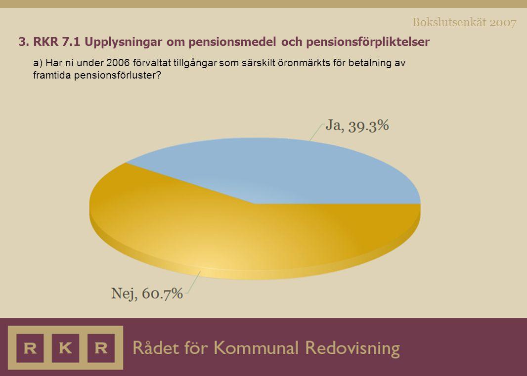 Bokslutsenkät 2007 3. RKR 7.1 Upplysningar om pensionsmedel och pensionsförpliktelser a) Har ni under 2006 förvaltat tillgångar som särskilt öronmärkt