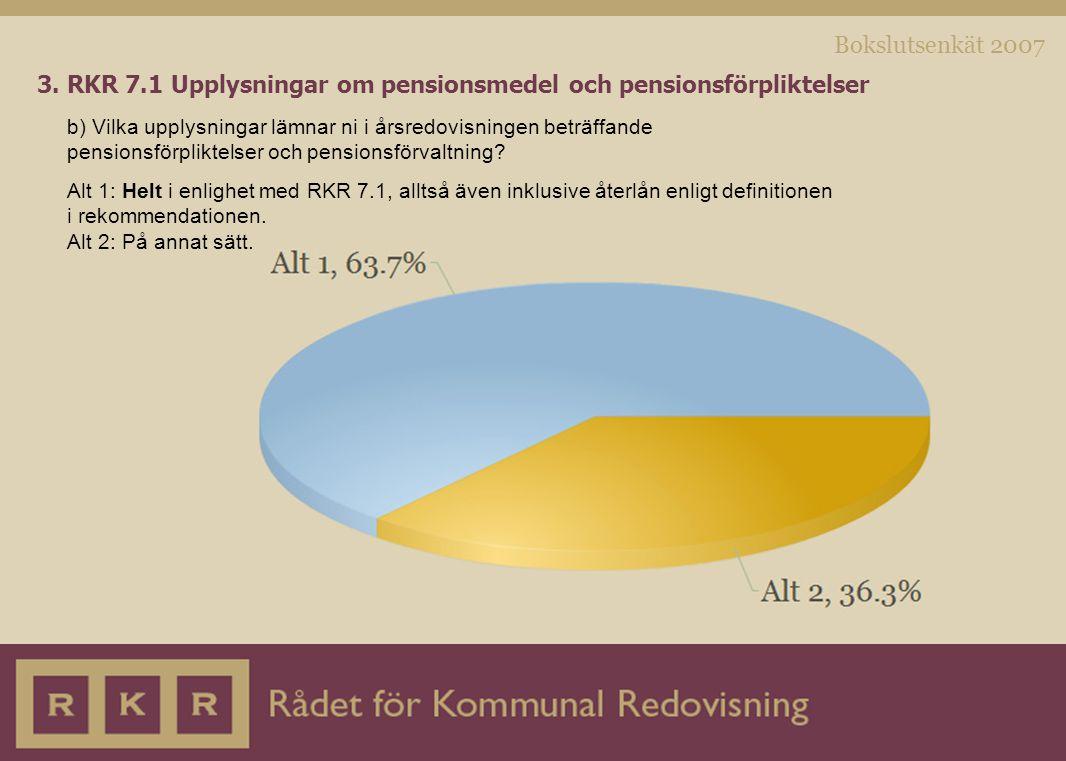 Bokslutsenkät 2007 3. RKR 7.1 Upplysningar om pensionsmedel och pensionsförpliktelser b) Vilka upplysningar lämnar ni i årsredovisningen beträffande p