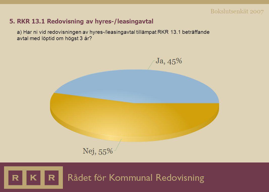 Bokslutsenkät 2007 5. RKR 13.1 Redovisning av hyres-/leasingavtal a) Har ni vid redovisningen av hyres-/leasingavtal tillämpat RKR 13.1 beträffande av