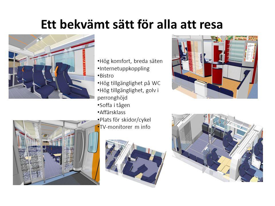 Ett bekvämt sätt för alla att resa Hög komfort, breda säten Internetuppkoppling Bistro Hög tillgänglighet på WC Hög tillgänglighet, golv i perronghöjd