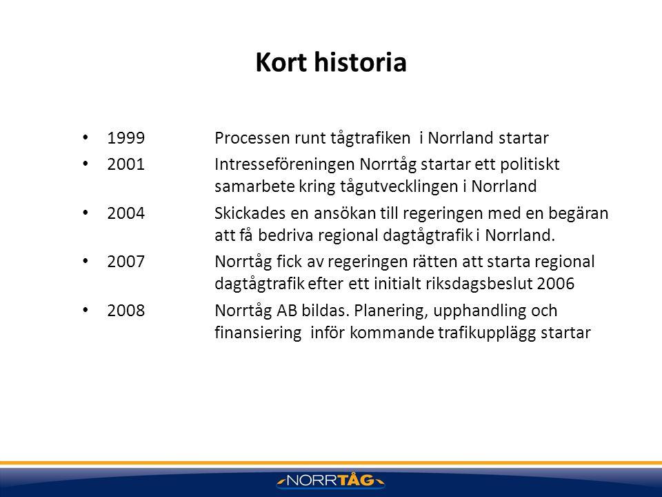 Kort historia 1999 Processen runt tågtrafiken i Norrland startar 2001 Intresseföreningen Norrtåg startar ett politiskt samarbete kring tågutvecklingen