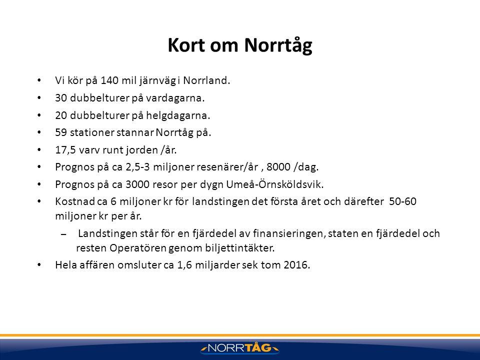 Kort om Norrtåg Vi kör på 140 mil järnväg i Norrland. 30 dubbelturer på vardagarna. 20 dubbelturer på helgdagarna. 59 stationer stannar Norrtåg på. 17