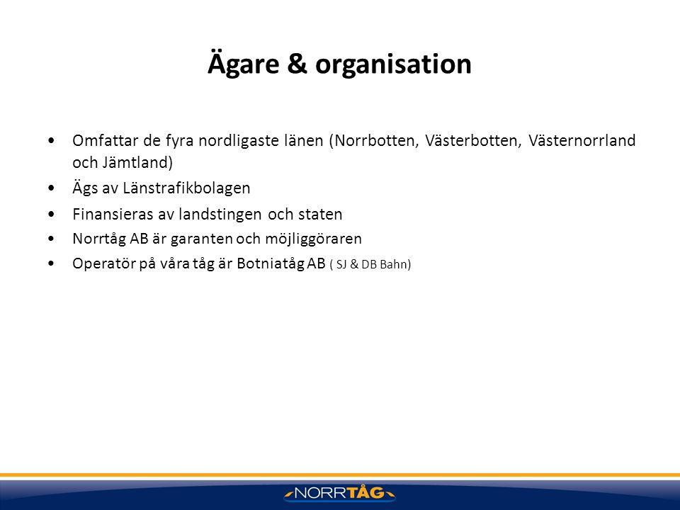Ägare & organisation Omfattar de fyra nordligaste länen (Norrbotten, Västerbotten, Västernorrland och Jämtland) Ägs av Länstrafikbolagen Finansieras a