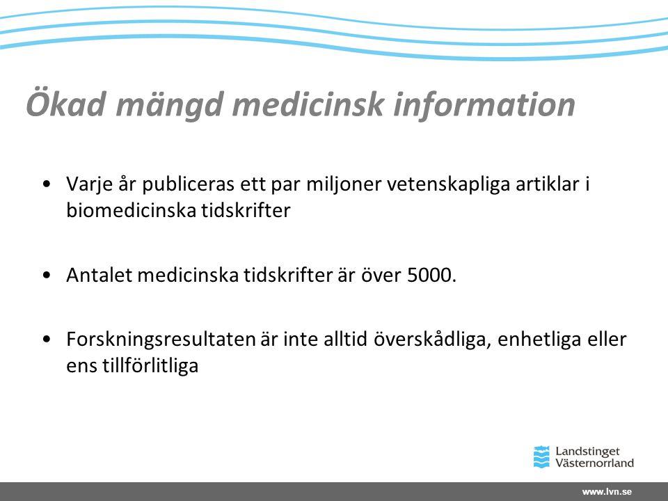 www.lvn.se Ökad mängd medicinsk information Varje år publiceras ett par miljoner vetenskapliga artiklar i biomedicinska tidskrifter Antalet medicinska tidskrifter är över 5000.