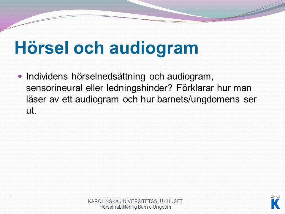 Hörsel och audiogram Individens hörselnedsättning och audiogram, sensorineural eller ledningshinder.