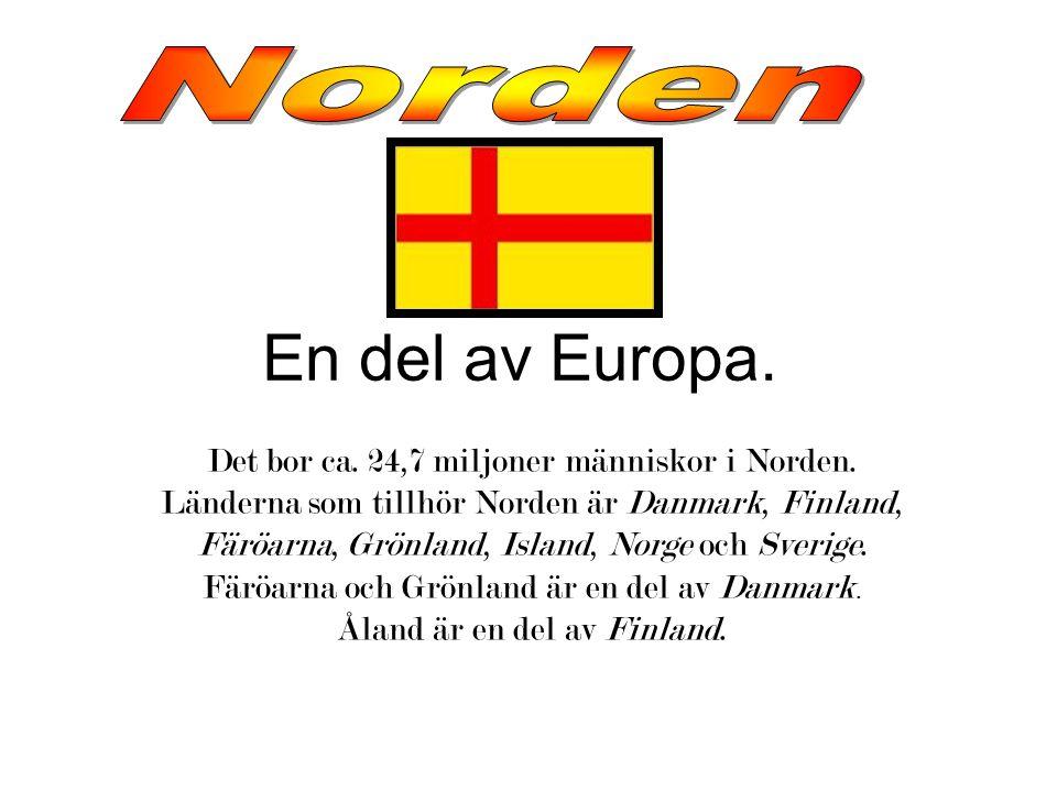 En del av Europa.Det bor ca. 24,7 miljoner människor i Norden.