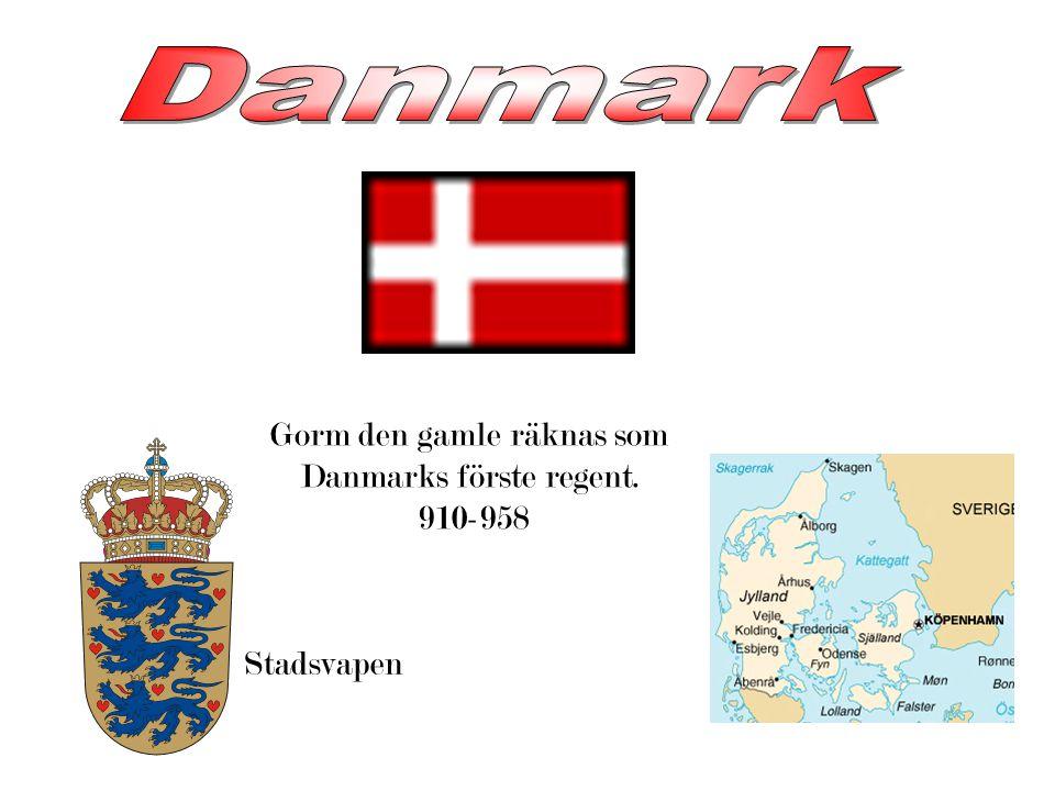 Gorm den gamle räknas som Danmarks förste regent. 910-958 Stadsvapen