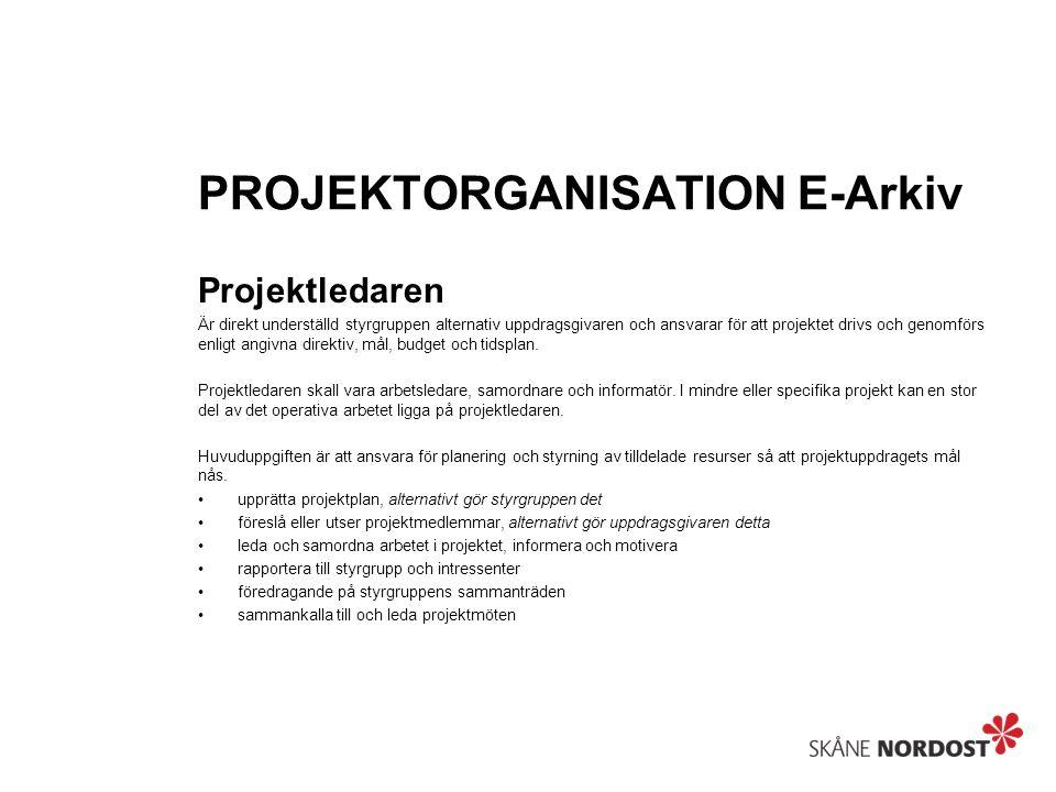 PROJEKTORGANISATION E-Arkiv Projektledaren Är direkt underställd styrgruppen alternativ uppdragsgivaren och ansvarar för att projektet drivs och genomförs enligt angivna direktiv, mål, budget och tidsplan.