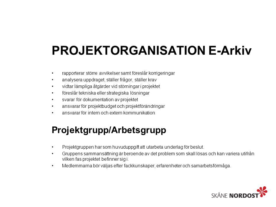 PROJEKTORGANISATION E-Arkiv rapporterar större avvikelser samt föreslår korrigeringar analysera uppdraget, ställer frågor, ställer krav vidtar lämpliga åtgärder vid störningar i projektet föreslår tekniska eller strategiska lösningar svarar för dokumentation av projektet ansvarar för projektbudget och projektförändringar ansvarar för intern och extern kommunikation Projektgrupp/Arbetsgrupp Projektgruppen har som huvuduppgift att utarbeta underlag för beslut.