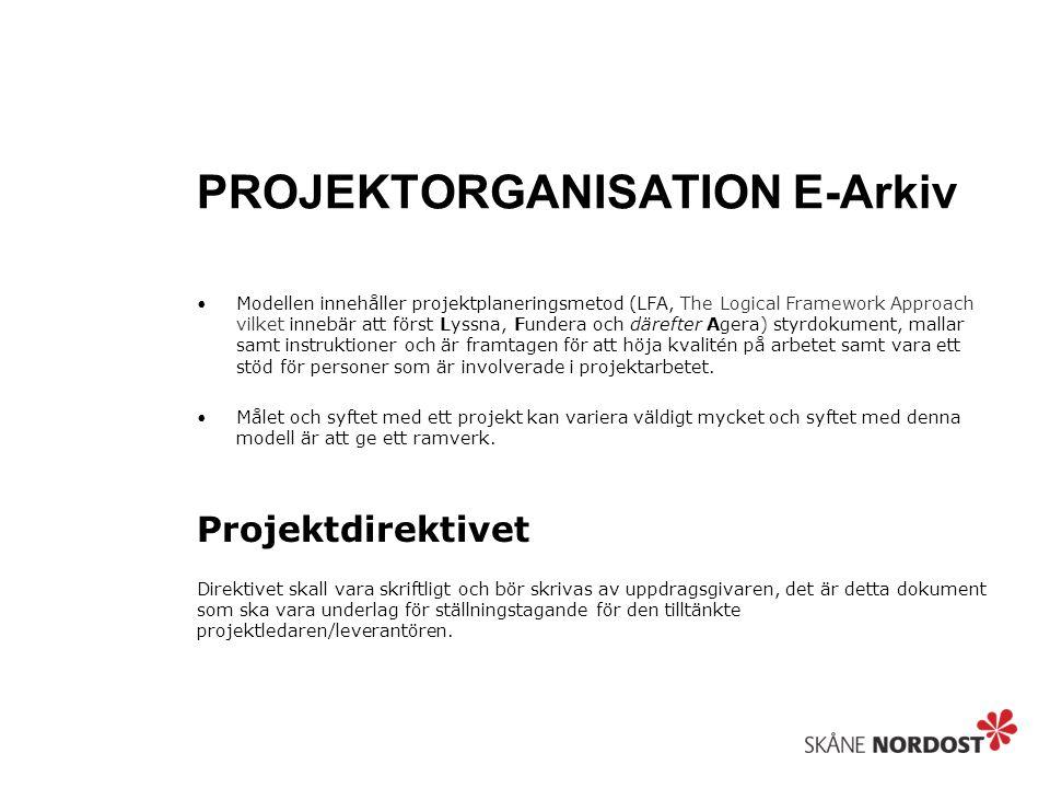 PROJEKTORGANISATION E-Arkiv Modellen innehåller projektplaneringsmetod (LFA, The Logical Framework Approach vilket innebär att först Lyssna, Fundera o