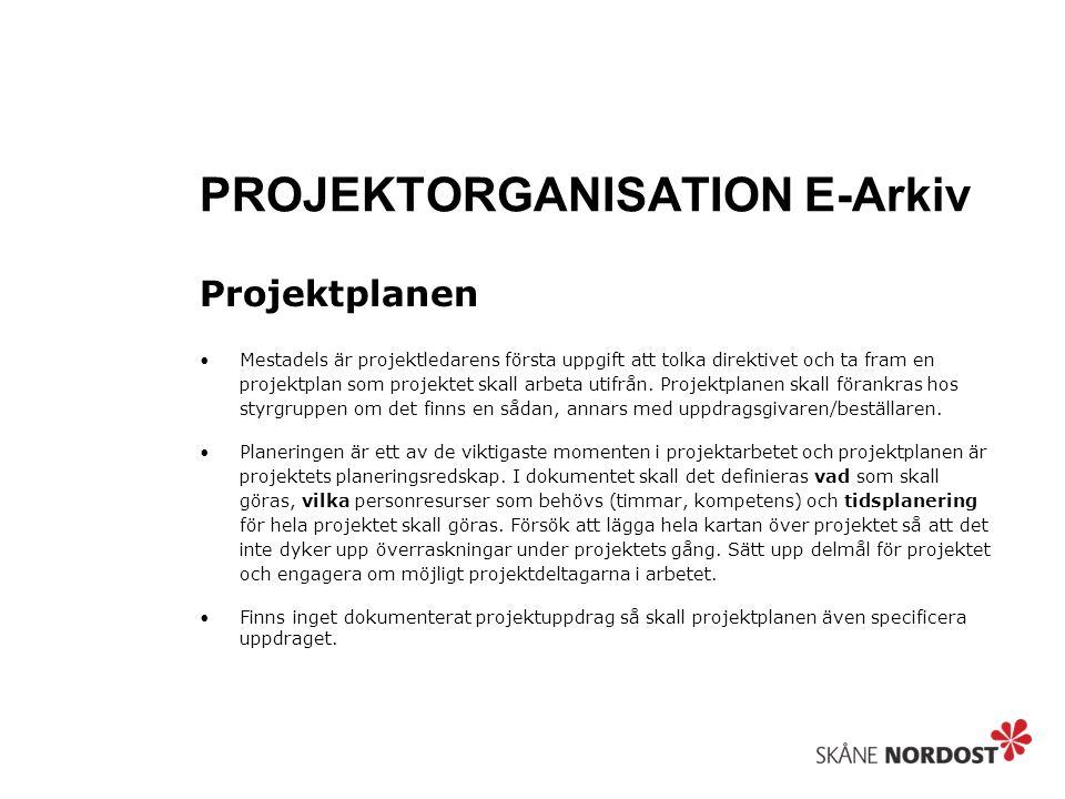 PROJEKTORGANISATION E-Arkiv Projektplanen Mestadels är projektledarens första uppgift att tolka direktivet och ta fram en projektplan som projektet skall arbeta utifrån.