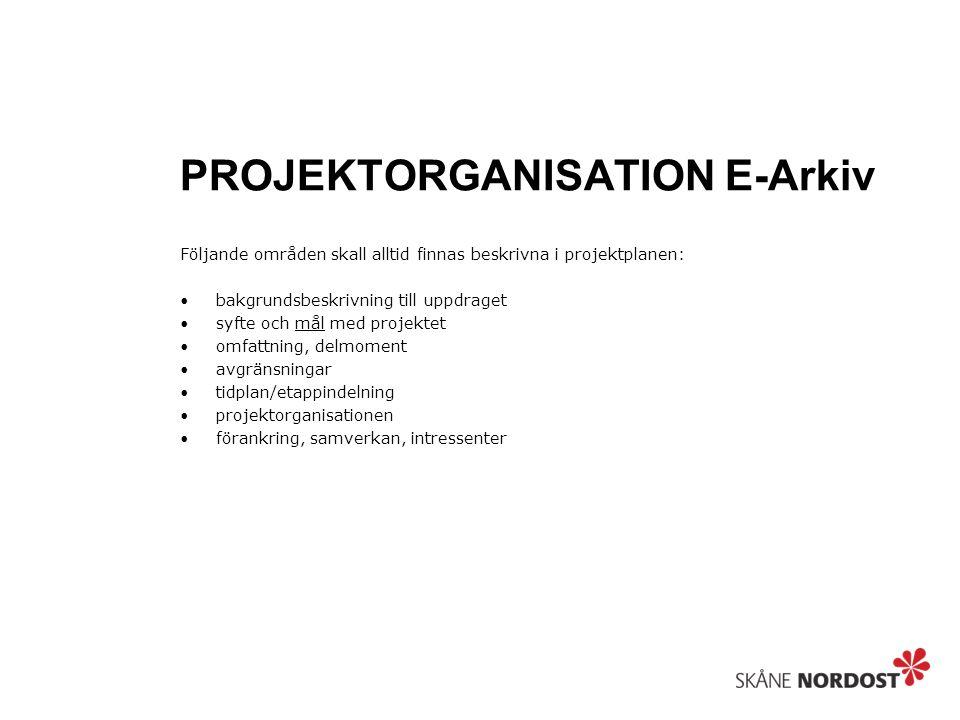 PROJEKTORGANISATION E-Arkiv Följande områden skall alltid finnas beskrivna i projektplanen: bakgrundsbeskrivning till uppdraget syfte och mål med projektet omfattning, delmoment avgränsningar tidplan/etappindelning projektorganisationen förankring, samverkan, intressenter