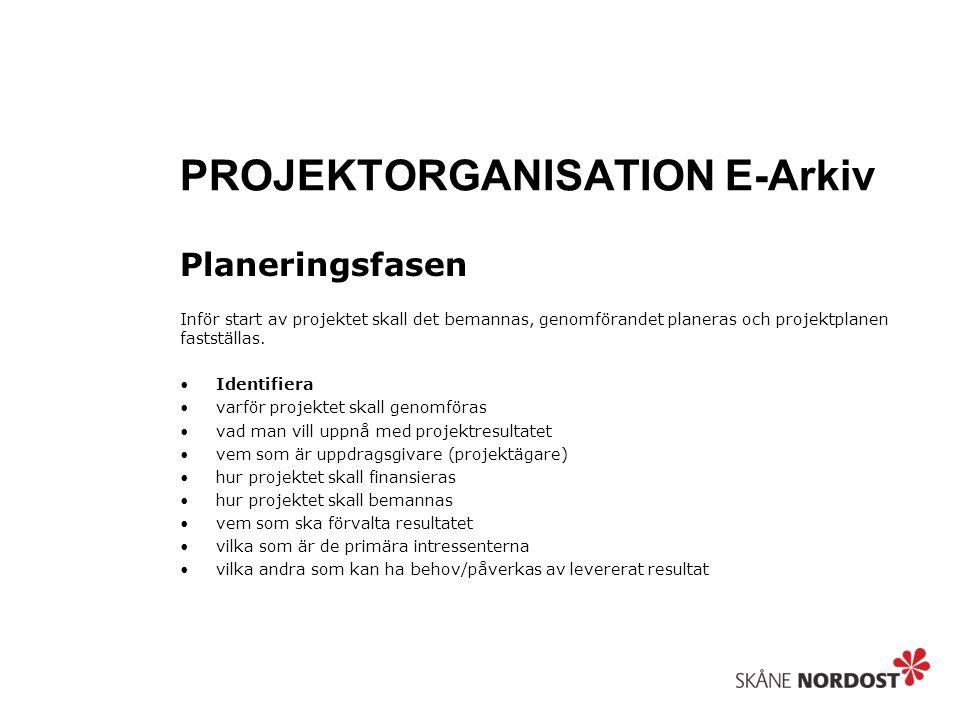 PROJEKTORGANISATION E-Arkiv Planeringsfasen Inför start av projektet skall det bemannas, genomförandet planeras och projektplanen fastställas. Identif