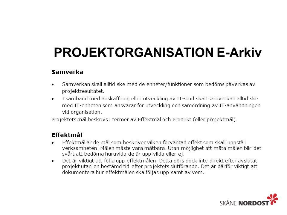 PROJEKTORGANISATION E-Arkiv Samverka Samverkan skall alltid ske med de enheter/funktioner som bedöms påverkas av projektresultatet. I samband med ansk