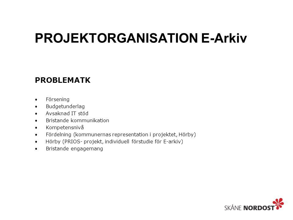 PROJEKTORGANISATION E-Arkiv PROBLEMATK Försening Budgetunderlag Avsaknad IT stöd Bristande kommunikation Kompetensnivå Fördelning (kommunernas representation i projektet, Hörby) Hörby (PRIOS- projekt, individuell förstudie för E-arkiv) Bristande engagemang