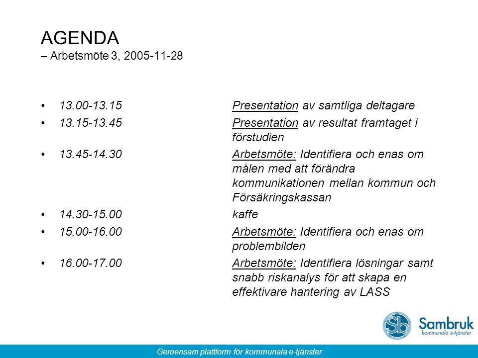 Gemensam plattform för kommunala e-tjänster AGENDA – Arbetsmöte 3, 2005-11-28 13.00-13.15Presentation av samtliga deltagare 13.15-13.45Presentation av resultat framtaget i förstudien 13.45-14.30 Arbetsmöte: Identifiera och enas om målen med att förändra kommunikationen mellan kommun och Försäkringskassan 14.30-15.00kaffe 15.00-16.00 Arbetsmöte: Identifiera och enas om problembilden 16.00-17.00 Arbetsmöte: Identifiera lösningar samt snabb riskanalys för att skapa en effektivare hantering av LASS