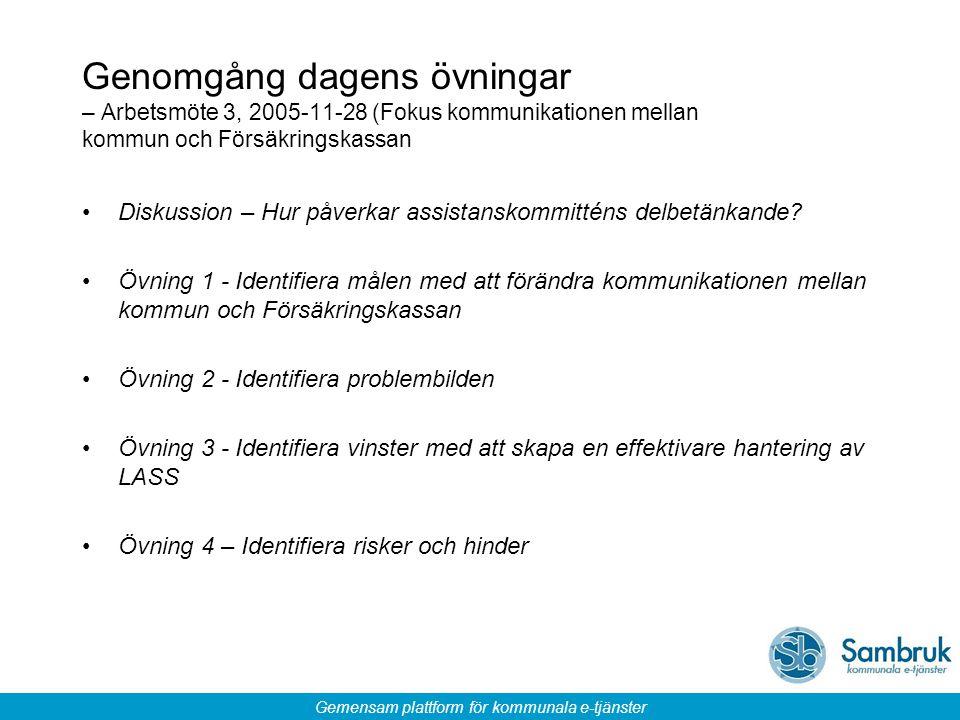 Gemensam plattform för kommunala e-tjänster Genomgång dagens övningar – Arbetsmöte 3, 2005-11-28 (Fokus kommunikationen mellan kommun och Försäkringsk