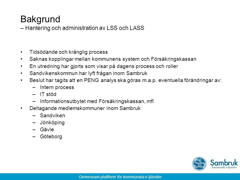 Gemensam plattform för kommunala e-tjänster Bakgrund – Hantering och administration av LSS och LASS Tidsödande och krånglig process Saknas kopplingar
