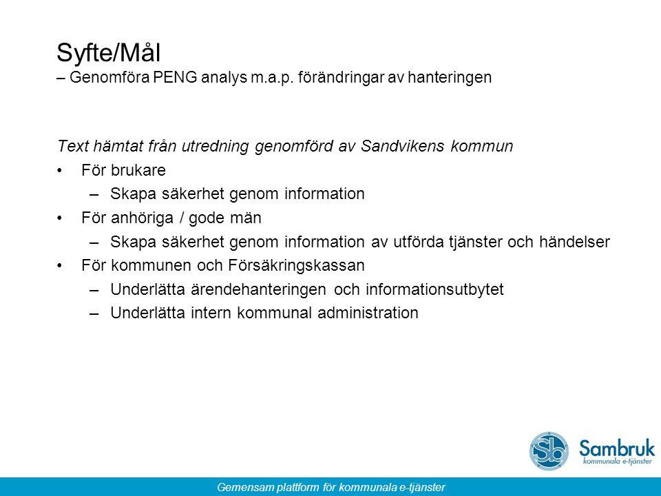 Gemensam plattform för kommunala e-tjänster Syfte/Mål – Genomföra PENG analys m.a.p. förändringar av hanteringen Text hämtat från utredning genomförd