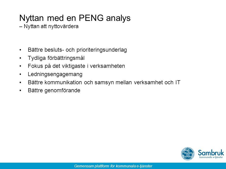 Gemensam plattform för kommunala e-tjänster Nyttan med en PENG analys – Nyttan att nyttovärdera Bättre besluts- och prioriteringsunderlag Tydliga förb