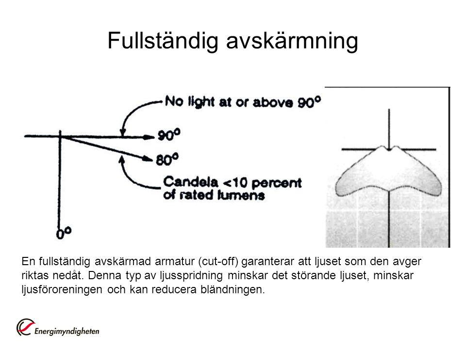 Fullständig avskärmning En fullständig avskärmad armatur (cut-off) garanterar att ljuset som den avger riktas nedåt. Denna typ av ljusspridning minska