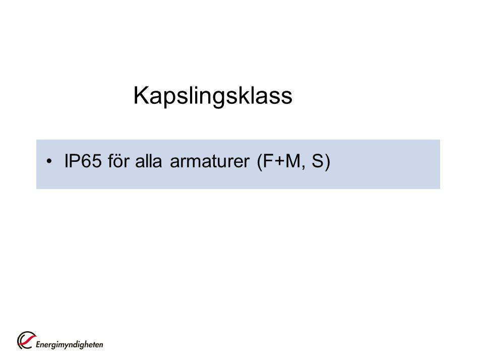 Kapslingsklass IP65 för alla armaturer (F+M, S)
